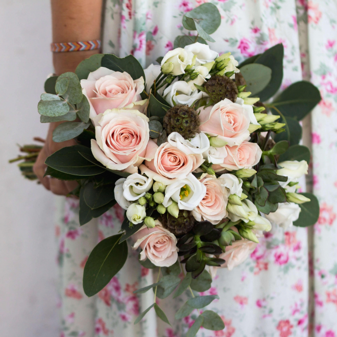 bouquet de mariée rose pâle