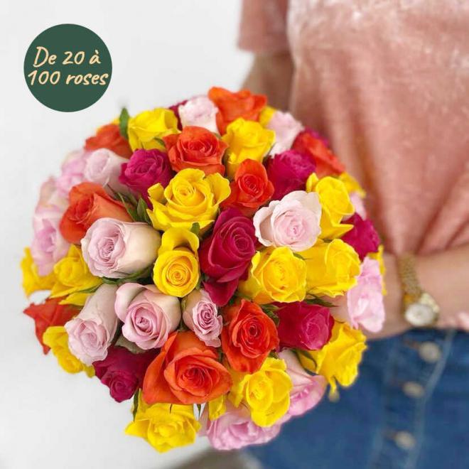 Bouquet de roses variées sur mesure