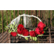 Couronne cheveux rose branchue rouge
