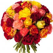 Bouquet 50 roses variées