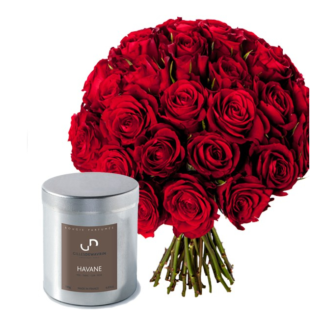 Coffret 30 Roses et Bougie parfumée - livraison fleurs - France Fleurs