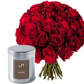 Coffret 30 Roses et Bougie