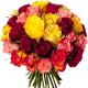 Bouquet 40 roses variées - livraison roses multicolores - France Fleurs