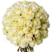 Bouquet 50 roses blanches