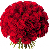 Bouquet 50 roses rouges