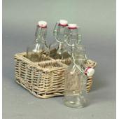 Support Osier et bouteilles en verre