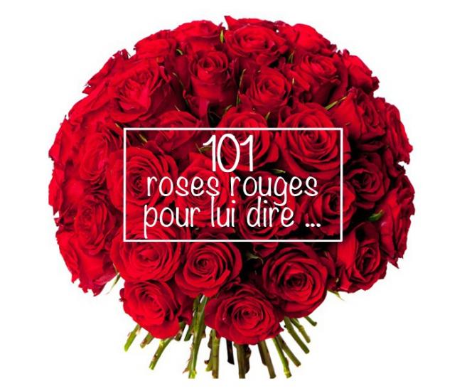 saint valentin - 101 roses rouges - france fleurs