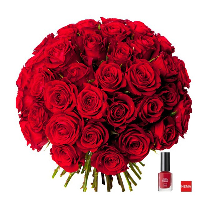 bouquet 50 roses rouges livraison bouquet de roses et son vernis rouge france fleurs. Black Bedroom Furniture Sets. Home Design Ideas