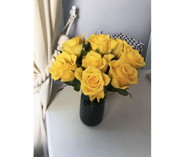 Bouquet De Roses Jaune Et Doré-40cm
