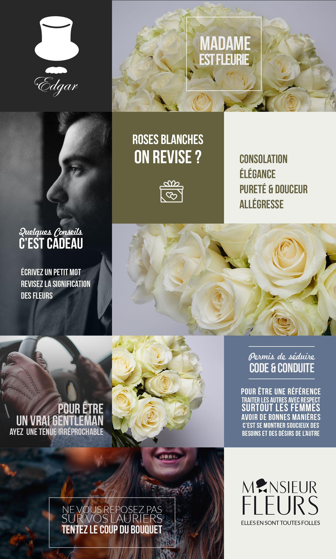 Offrir bouquet Edgar, Bouquet de roses blanches pour vous servir par Monsieur Fleurs